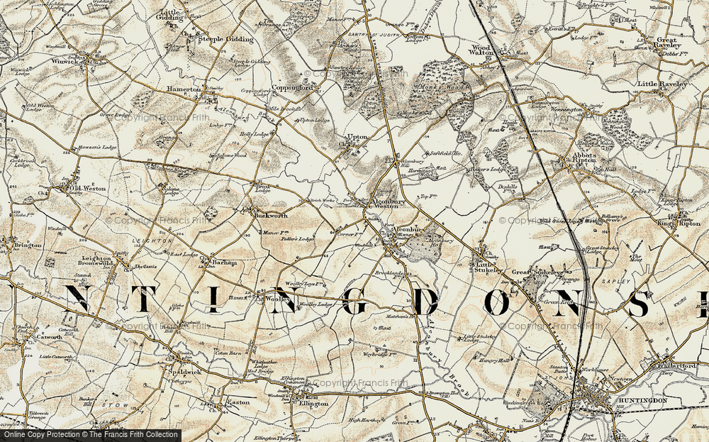Old Map of Alconbury Weston, 1901 in 1901