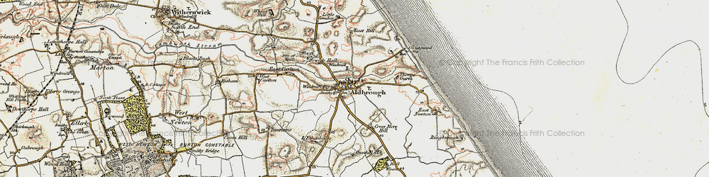 Old map of Aldbrough in 1903-1908