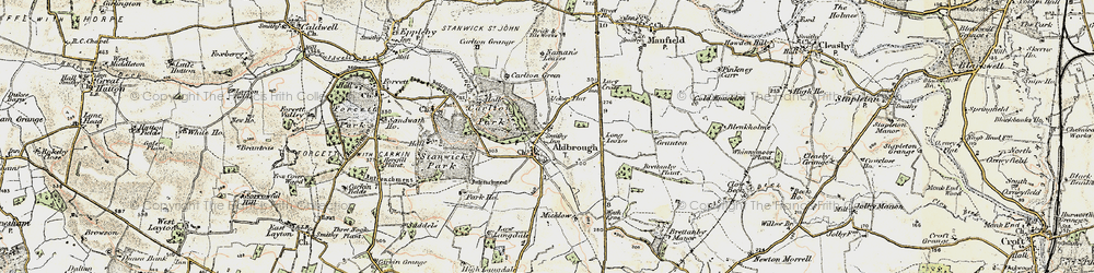 Old map of Aldbrough St John in 1903-1904