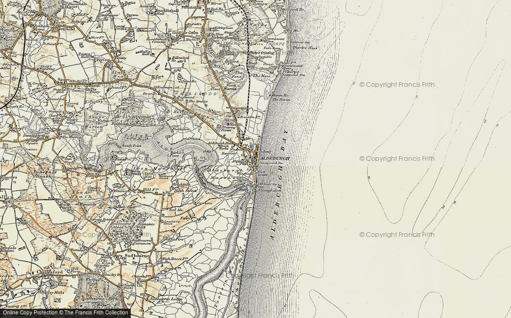 Old Map of Historic Map covering Aldeburgh Bay in 1898-1901