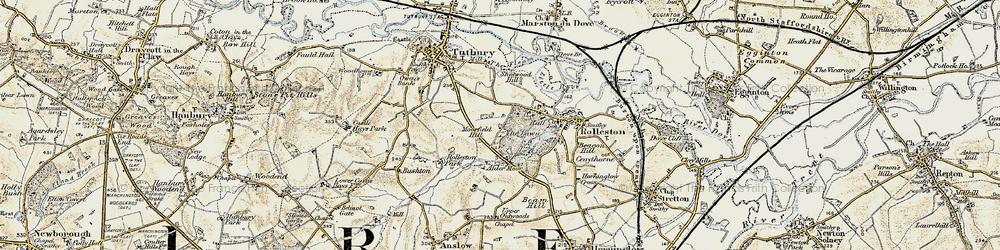 Old map of Alder Moor in 1902