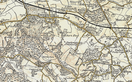 Old map of Alder's End in 1899-1901