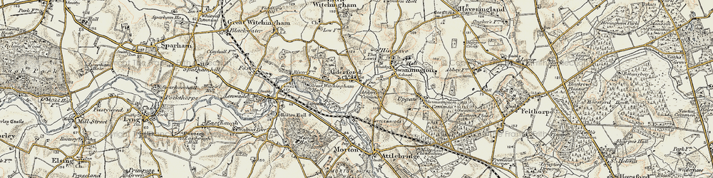 Old map of Alderford Common in 1901-1902