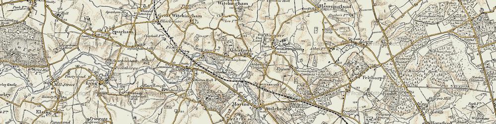 Old map of Alderford in 1901-1902