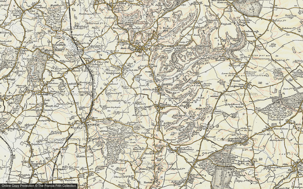Old Map of Historic Map covering Alderley Wood in 1898-1899