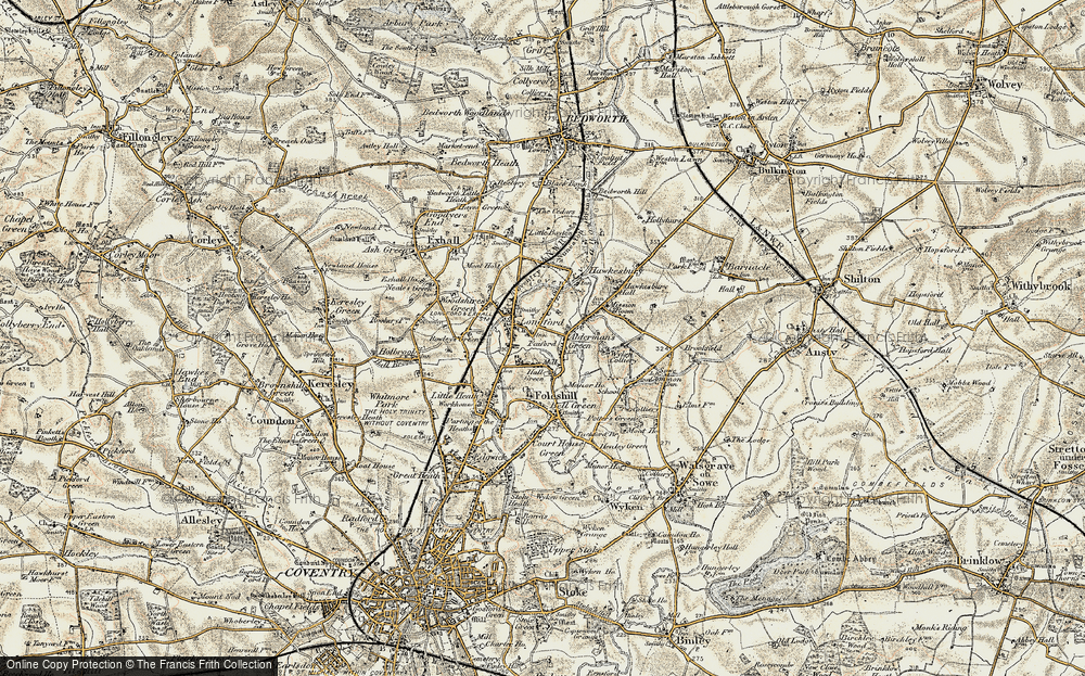 Old Map of Alderman's Green, 1901-1902 in 1901-1902