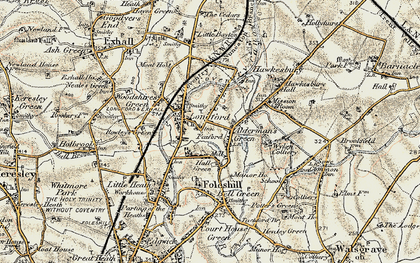 Old map of Alderman's Green in 1901-1902