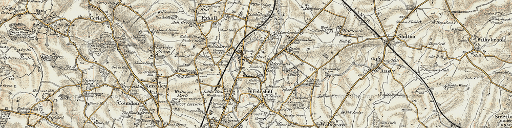 Old map of Alderman's Green in 1901-1902