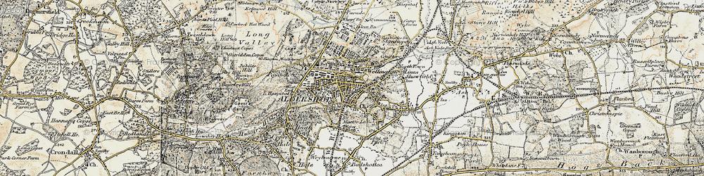 Old map of Aldershot in 1898-1909