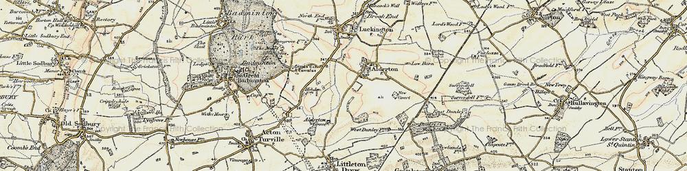 Old map of Alderton in 1898-1899