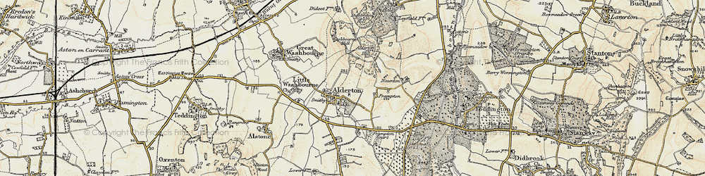 Old map of Alderton Hill in 1899-1900