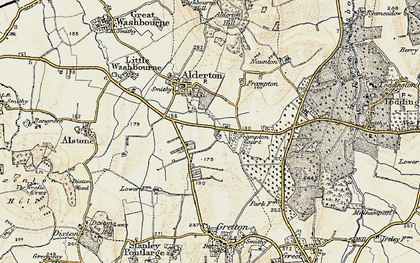 Old map of Alderton Fields in 1899-1900