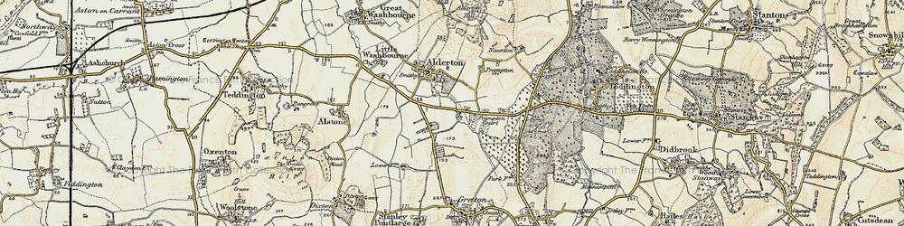 Old map of Alderton Fields in 1899-1900