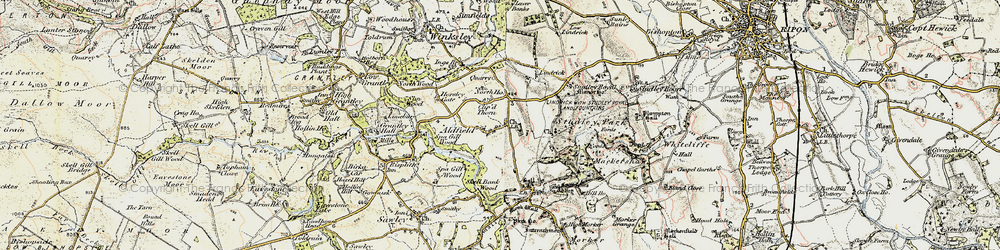 Old map of Fountains Abbey in 1903-1904