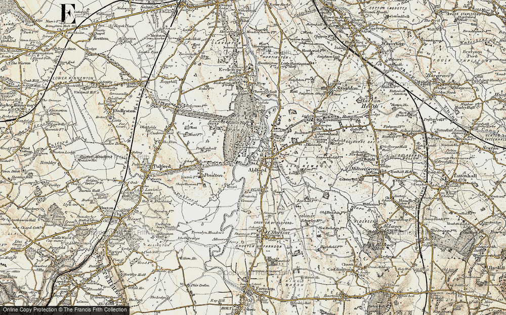 Old Map of Historic Map covering Aldford Brook in 1902-1903