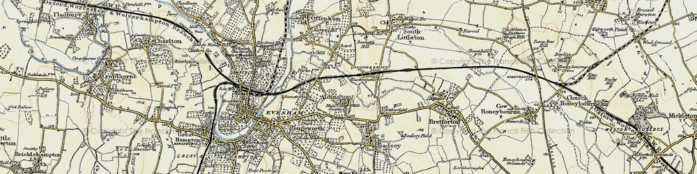 Old map of Aldington in 1899-1901