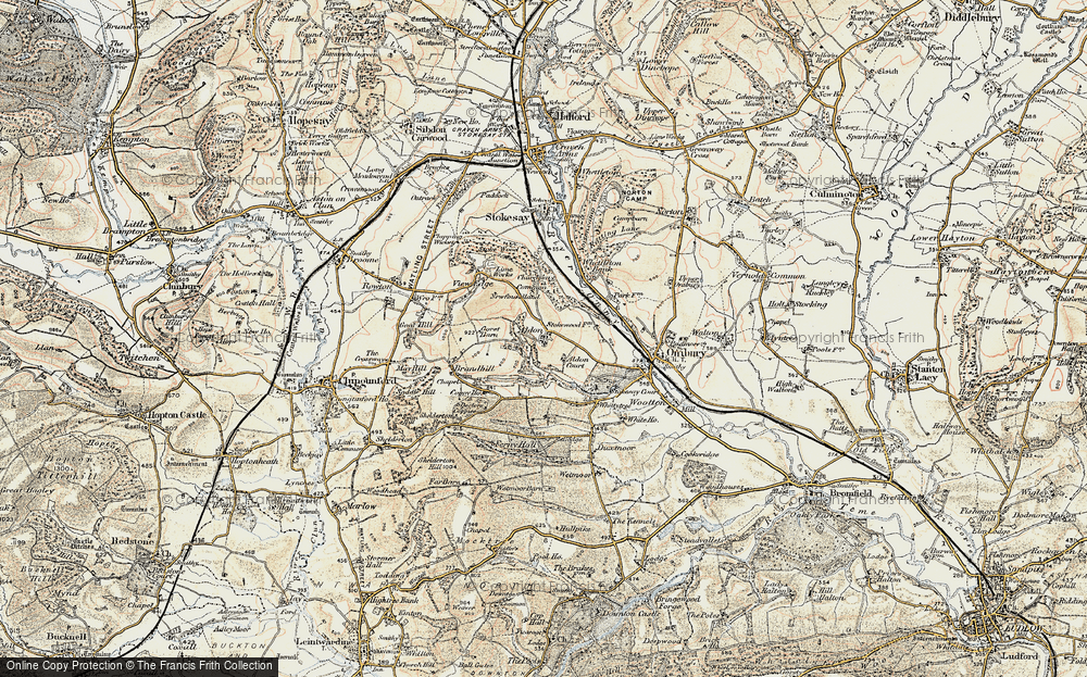 Old Map of Historic Map covering Aldon Court in 1901-1903