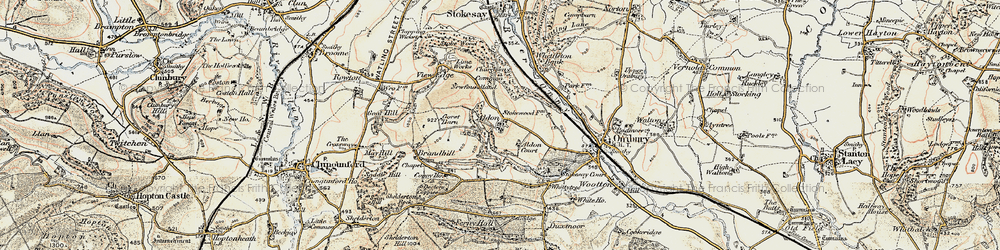 Old map of Aldon in 1901-1903