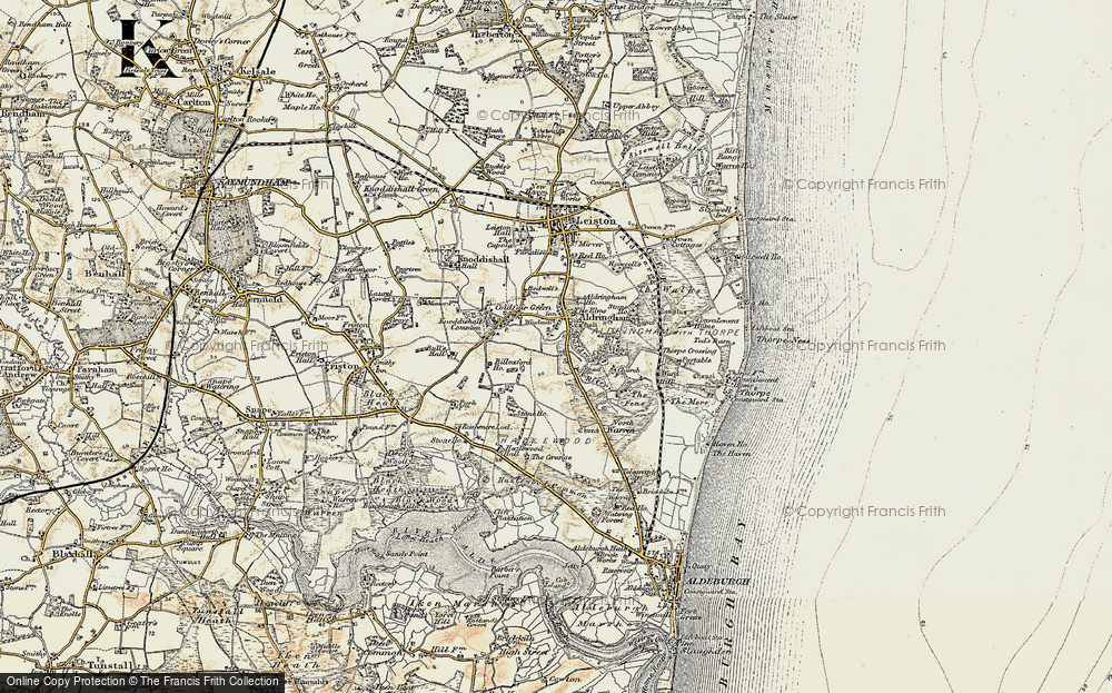 Old Map of Historic Map covering Aldringham Ho in 1898-1901