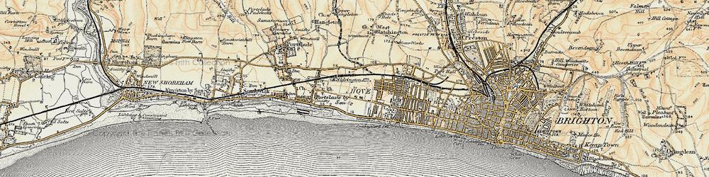 Old map of Aldrington in 1898