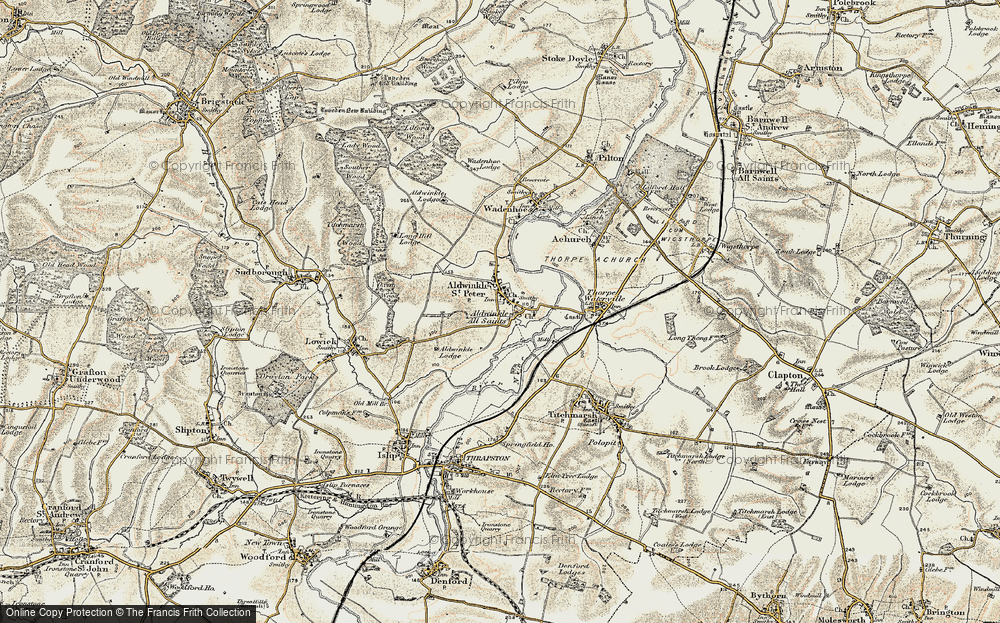 Old Map of Aldwincle, 1901-1902 in 1901-1902