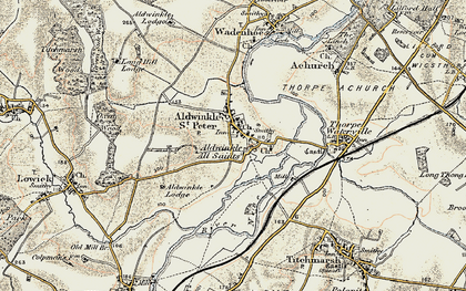 Old map of Aldwincle in 1901-1902