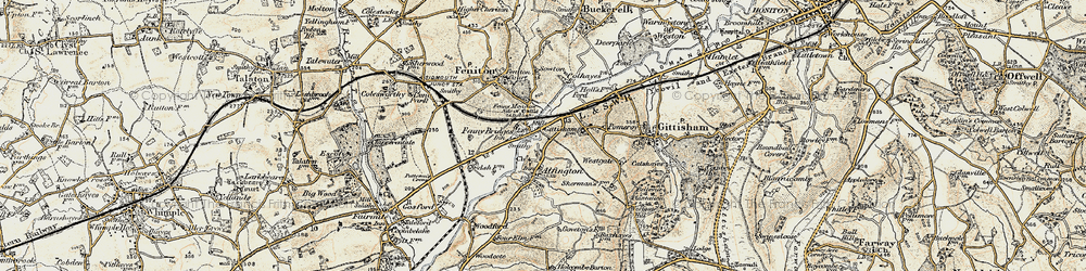 Old map of Alfington in 1898-1900