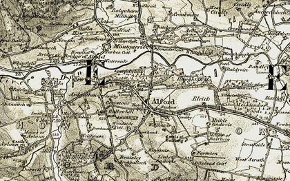 Old map of Alford Valley Railway in 1908-1910