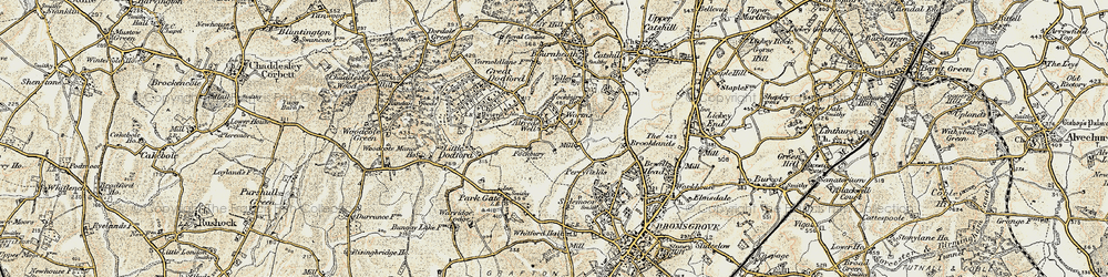 Old map of Alfred's Well in 1901-1902