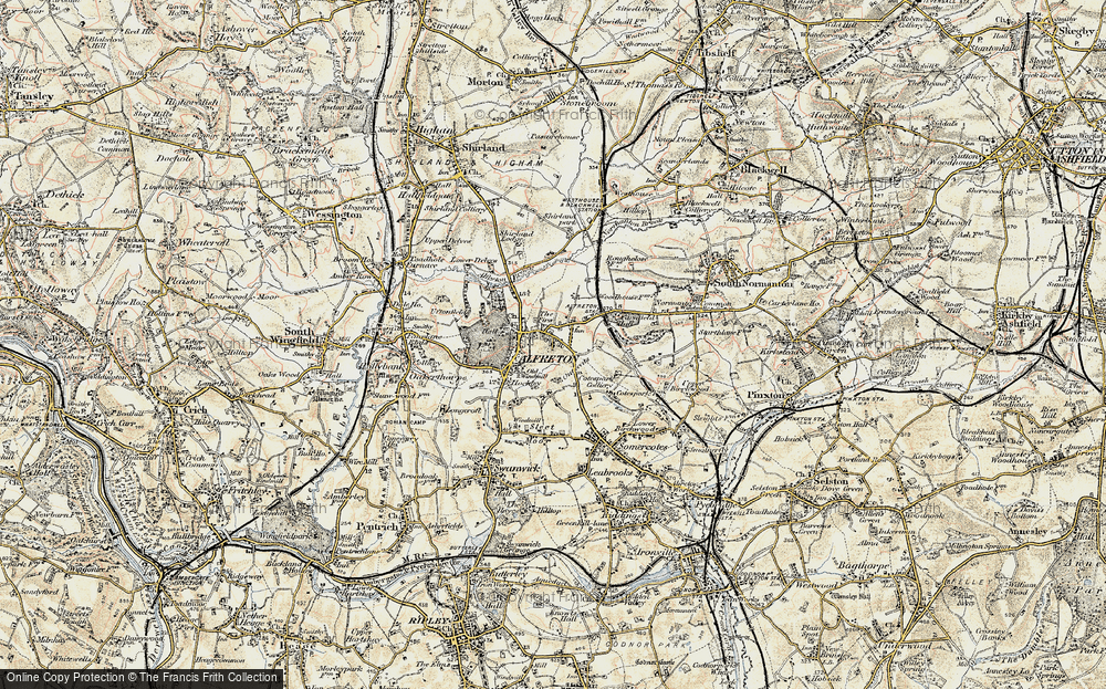 Old Map of Historic Map covering Alfreton Brook in 1902-1903