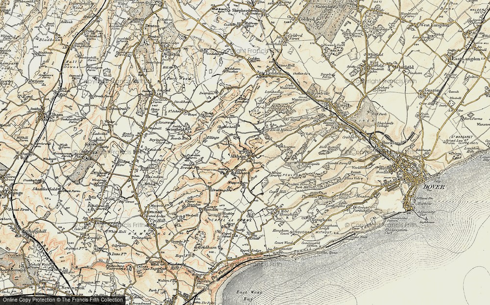 Old Map of Alkham, 1898-1899 in 1898-1899