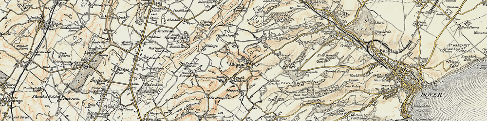 Old map of Alkham in 1898-1899