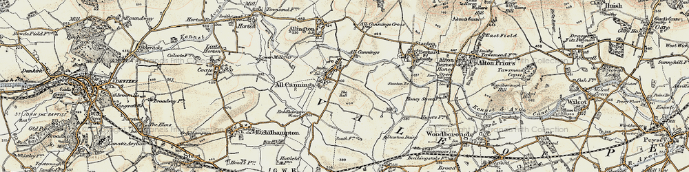 Old map of All Cannings in 1898-1899