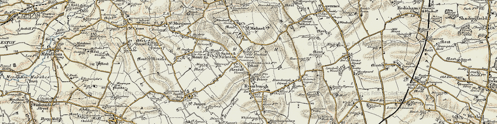 Old map of All Saints South Elmham in 1901-1902