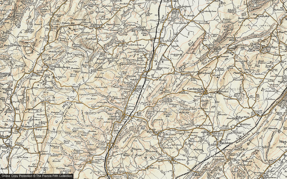 Old Map of All Stretton, 1902-1903 in 1902-1903