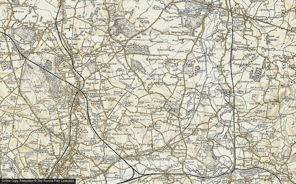 Old Map of Allen End, 1901-1902 in 1901-1902