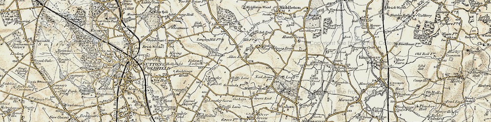Old map of Allen End in 1901-1902
