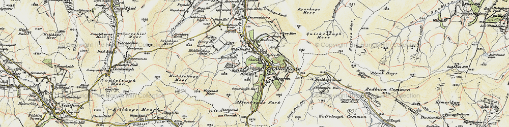 Old map of Allenheads in 1901-1904