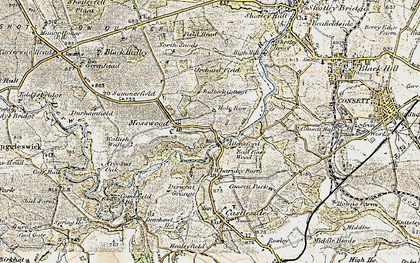 Old map of Allensford in 1901-1904