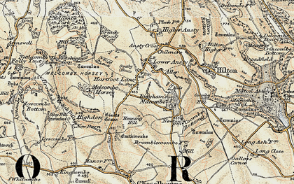 Old map of Aller in 1897-1909