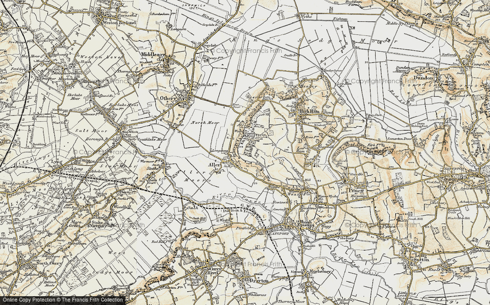 Old Map of Historic Map covering Aller Wood in 1898-1900