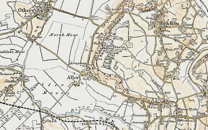 Old map of Aller in 1898-1900