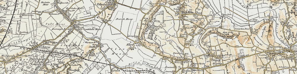 Old map of Aller Wood in 1898-1900