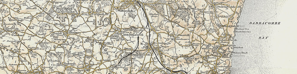 Old map of Aller in 1899