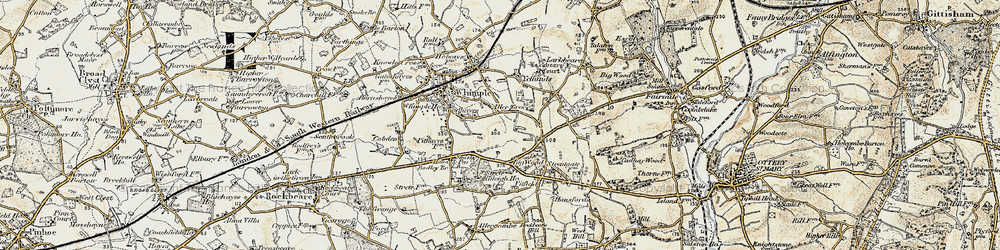 Old map of Whimple Wood in 1898-1900