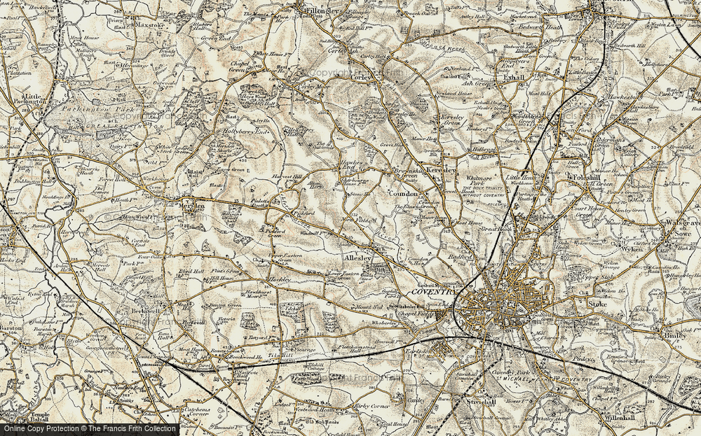 Old Map of Allesley, 1901-1902 in 1901-1902