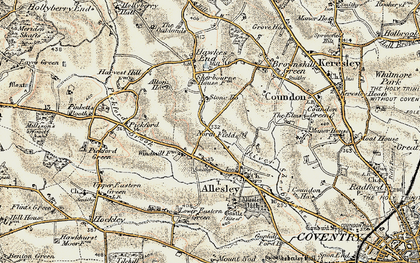 Old map of Allesley in 1901-1902