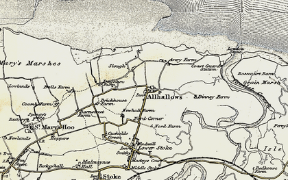 Old map of Allhallows Marshes in 1897-1898