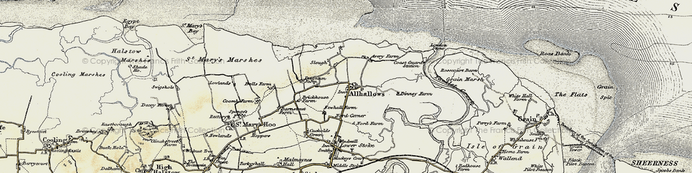 Old map of Allhallows in 1897-1898