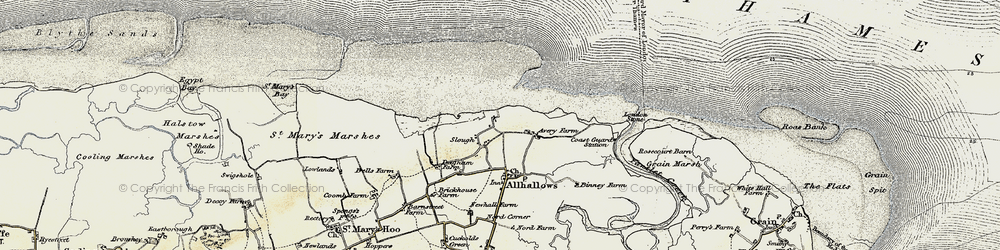 Old map of Allhallows-on-Sea in 1897-1898